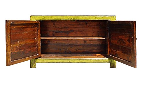 Chinese Lime Green Orange Flower Side Table Cabinet Acs1346 4
