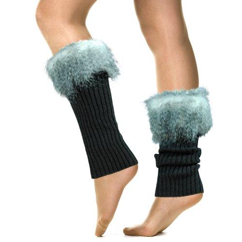 Knitting Pattern For Stirrup Leg Warmers : Basico Women Lady Faux Fur Knit Leg Warmer Stirrup Warmer 3341-2 (Grey) Appar...