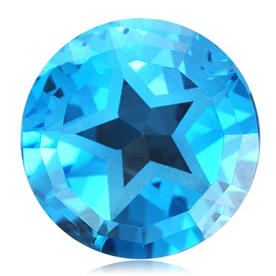3.50 Cts of 9 mm Texas Star AA Loose Swiss Blue Topaz ( 1 pcs ) Gemstone