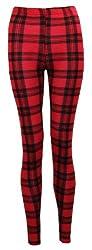 O37 Womens Check Tartan Print Ladies Full Length Leggings