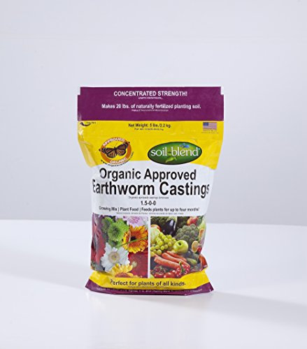 5 Lb. Certified Organic/VEGAN/Non-GMO/Sustainable Earthworm Castings.High Microbial Activity. No Manure/Odorless. Trusted by Master Gardeners. (Worms Casting compare prices)