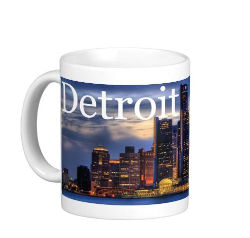 Pair Of 15 Ounce Detroit Skyline Michigan Coffee Mugs - Dishwasher And Microwave Safe