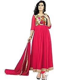 FashionPulse4U Women's Georgette Pink Dress(Blue_Free Size)