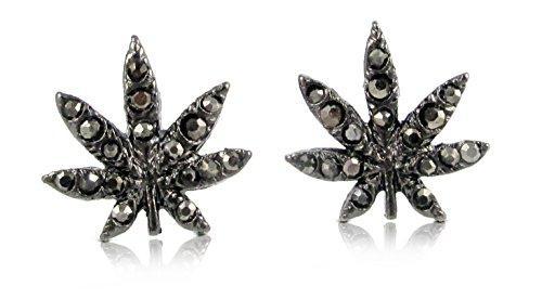 "Trendy 1/2"" Gunmetal Black Embellished With Hematite Tone Crystals Cannabis Leaf Stud Earrings"