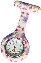 Reloj Médico Reloj Prendedor de Broche de Túnica de Paramédico Doctor Enfermera Silicón Floral Lila & Rosa