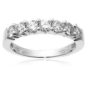 Diamond Ring - 14k White Gold Round 7-Stone Ring