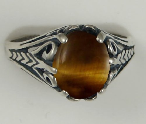A Gorgeous Sterling Silver Filigree Ring Featuring a Beautiful Tiger Eye Gemstone