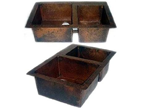 "Double Bowl 60/40 Split Copper Kitchen Sink - Dark Brown - Standard 33""x22""x9"""