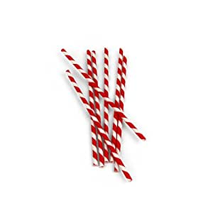 Kikkerland Biodegradable Paper Straws, Red and White Striped, Box of 144