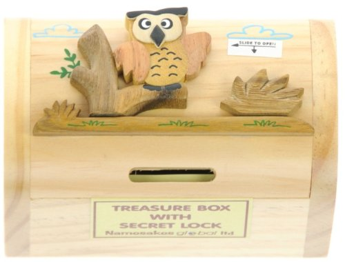 Owl : Money Box with Secret Lock : Handcrafted Wooden Treasure Chest : Top Gift Idea : High Quality Traditional Present For Boys, For Girls, For Him, For Her, For Children & For Fun Loving Adults! 30+ Designs (Size 12x9x7cm)
