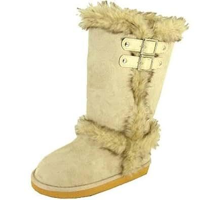 Qupid Oakley Beige Furry Faux Fur Mukluk Boots (6)