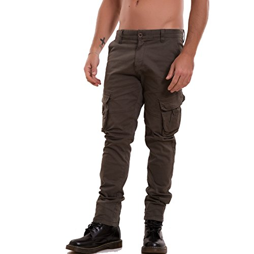 Toocool - Pantaloni uomo jeans denim CARGO slim tasconi casual aderenti nuovi P8578 [42,verde]