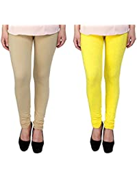 Snoogg Womens Ethnic Chic Inspired Churidar Leggings In Yellow And Beige