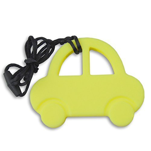 Teething Necklace - Mr Beans Yellow Car Is Soft to the Touch and Gentle on Babys Gums, Yet Firm to Withstand Chewing. Clasps Great to Car Seats or Strollers for Hanging Accessory When Mom Cant Be Right There. Goes Great with Rattles, Toys, and Other Baby Items to Create the Perfect Baby Shower Gift Set or Basket. Excellent Pain Relief Treatment for Childrens Oral Discomfort.