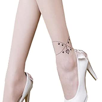 Sexy Hearts Ankle Bracelets Print Tattoo Sheer Pantyhose
