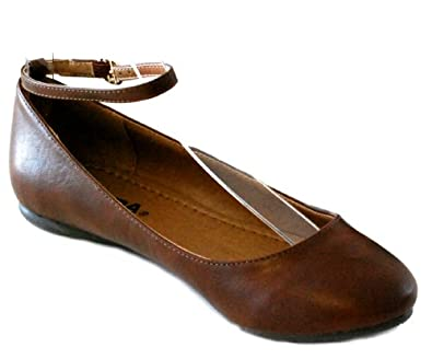 Soda Paso-S Mary Jane Ankle Strap Low Ballet Flats Cute Causal Comfy Fux Leather Shoes (8, Tan)