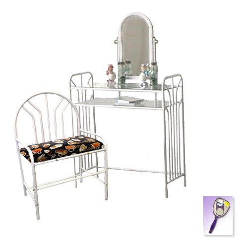 New White Metal Finish Make Up Vanity Table With Mirror & Coffee Espresso Themed Bench