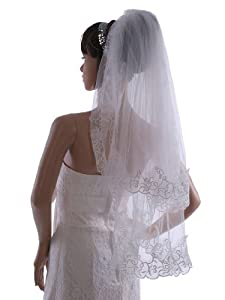 Topwedding White 2 Tiers Voile Wedding Veil with Embroidery Bridal Favors