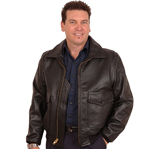 San Diego Leather USA Made G1 Navy Flight Jacket in Dark Brown Cowhide Size 50 No Fur Navy G 1 Flight Jacket