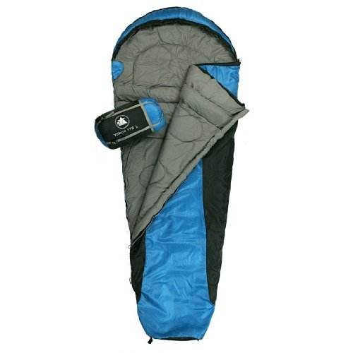10T Outdoor Equipment, Sacco a pelo Yukon 175, Blu (Blau), 215 x 85 x 55 cm