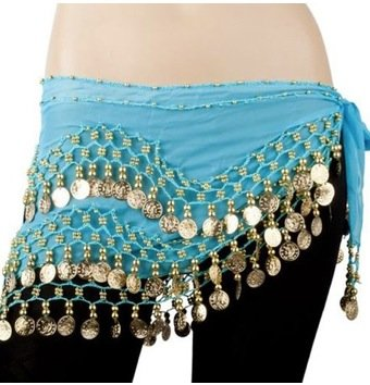 AIRLUT Light blue Chiffon Dangling Gold Coins Hip Scarf for Belly Dancing