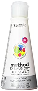 Method 8x Concentrated Laundry Detergent, 75 Loads, Free & Clear 30 Fluid Ounce