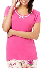 Scoop Neck Short Sleeve Pyjama Top [T37-5618-S]