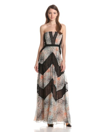 BCBGMAXAZRIA Women's Elle Print and Lace Blocked Halter Dress, Powder Combo, 10