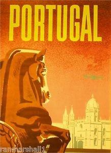 LanLan Portugal by Clipper Airplane Vintage Lisbon Travel Advertisement Poster Print