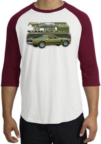Ford Car 1970 Mustang Boss 302 Classic Adult Raglan T-Shirt Tee - White/Cardinal, Small