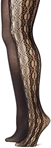 Betsey Johnson Womens 2 Pair Pack Lace Net Tight