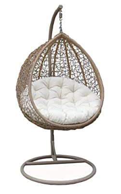 Poly Rattan Wicker Garden Patio Hanging Swing Chair Seat-black &cream Or Brown &cream