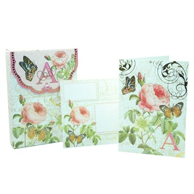 Punch Studio Floral Monogram Pouch Note Cards- #56976a