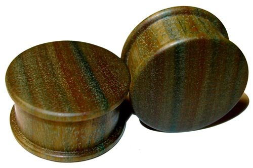 44mm Organic Lignum Vitae Double Top Hat Exotic Wood Plugs