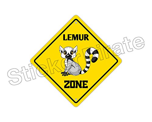 Lemur Crossing Funny Metal Novelty Sign Aluminum
