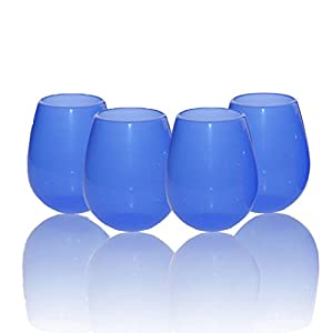 Jypc 4pcs Premium Food Grade Clear Shatterproof Reusable Silicone Wine Glasses