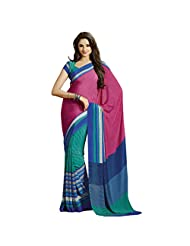 Groovy Pink Colored Printed Crape Saree By Triveni