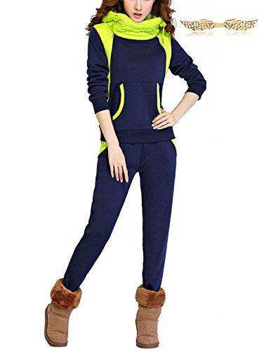 BYD Donna 2pcs Felpa Tute Felpa con Cappuccio Accollato Cappotto Tuta Training Ispessisce Abbigliamento Sportivo Hoodie Felpe + Pantaloni