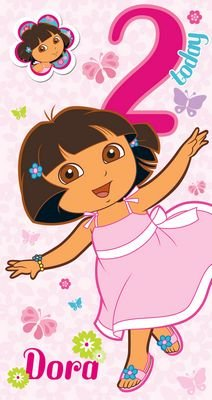 Dora The Explorer - Age 2 Birthday Card & Badge - 2nd
