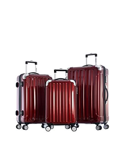 Olympia Stanton 3-Piece Polycarbonate Hardcase Spinner Set, Burgundy
