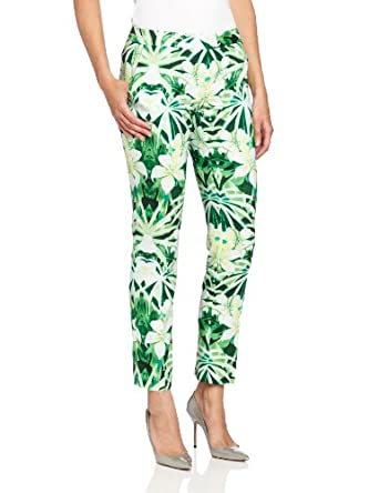 Vince Camuto Women's Tropic Printed Skinny Ankle Pant, Grass Green, 2