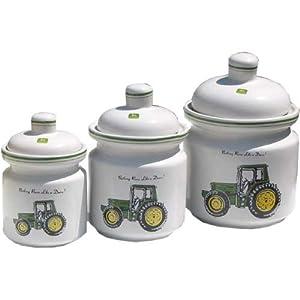 John deere 3 pc ceramic canister set for Kitchen set amazon