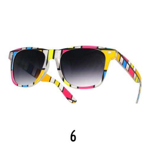 Sonnenbrille Nerdbrille retro Wayfarer Unisex Herren/Damen Sonnenbrille, UV-Schutz 400, Schildpatt Herren Sonnenbrille Spicoli 4 Shades, Tortoise Aussen, One size (6)