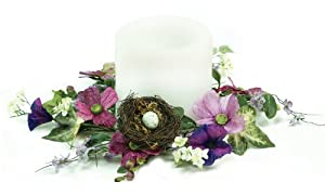 Melrose Wild Flower Candle Ring with Bird Nest's and Eggs, Fits 3-Inch Candle, 9-Inch Diameter