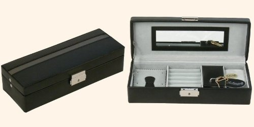 Black leather gents valet box with silver trim