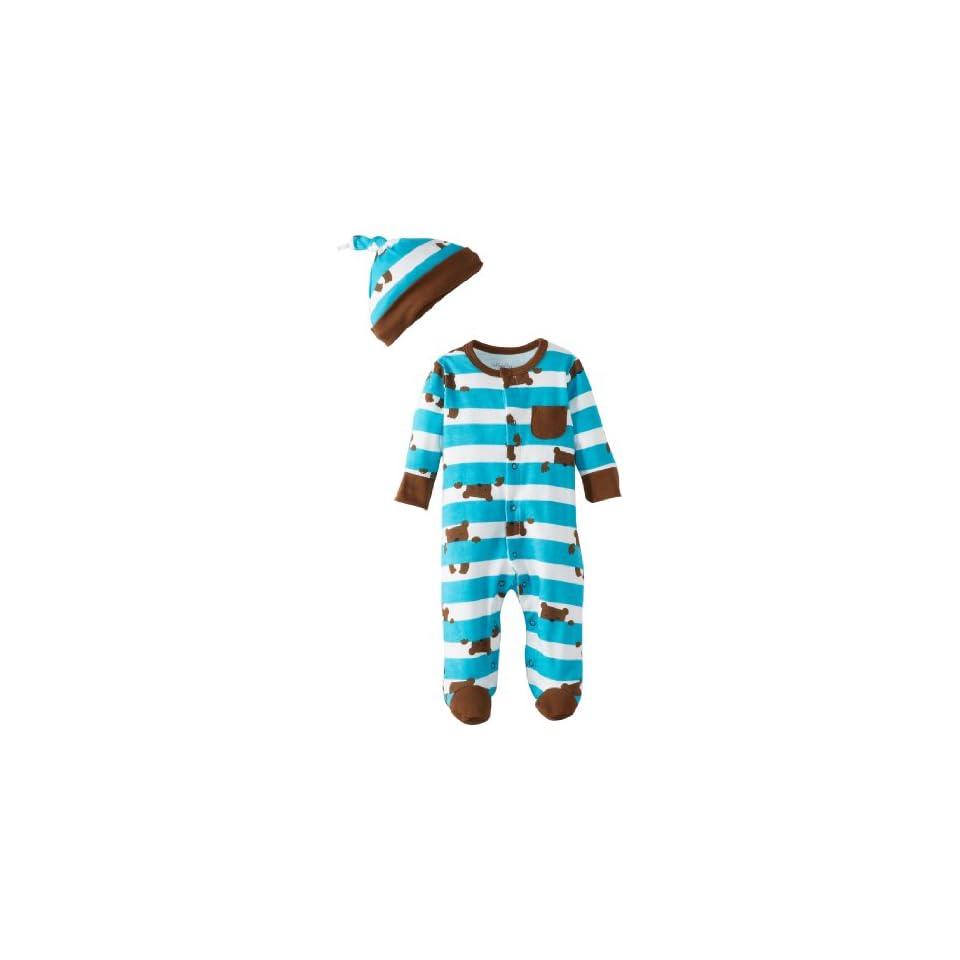 Offspring   Baby Apparel Boys Newborn Bear Print Footie With Hat, Blue Print, Newborn