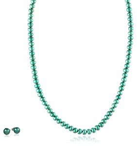 Teal Freshwater Cultured Button Pearl Necklace and Studs Set with Stainless Steel Clasp (6-7mm), 18+2