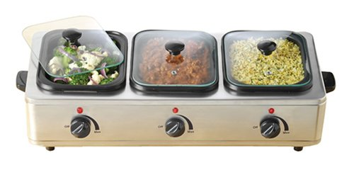 how to nostalgia bcs 997 stainless steel 3 station buffet server with separate heat controls and