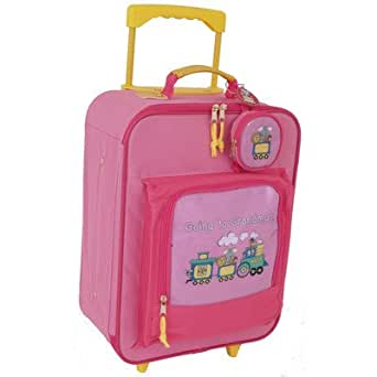 Going to Grandma's Children's Rolling Upright Suitcase Color: Pink