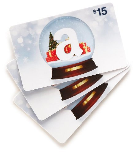 Amazon.com $15 Gift Cards – 3-pack (Holiday Globe) image